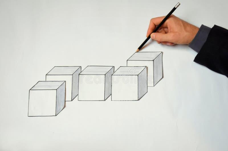 Planeamiento del hombre de negocios un concepto de la solución del blockchain fotos de archivo libres de regalías