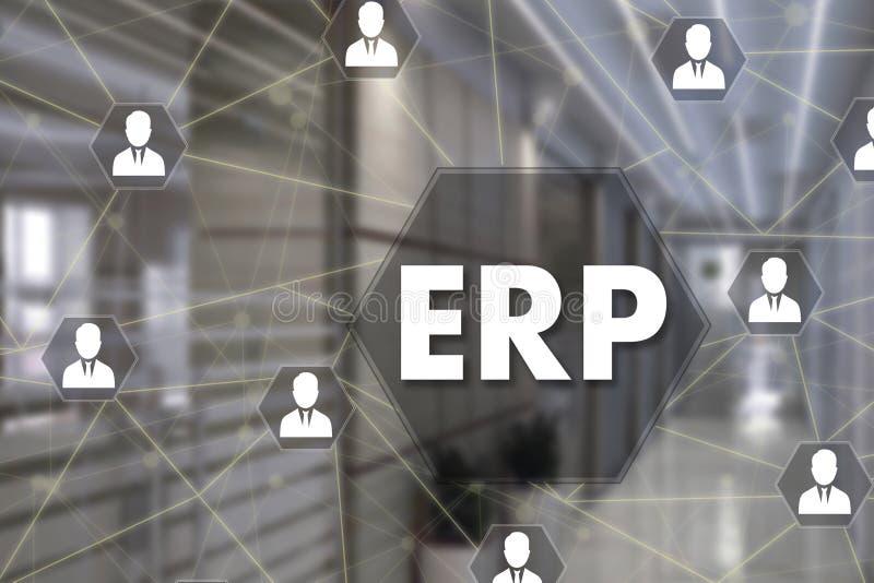 Planeamiento del recurso de la empresa ERP en la pantalla t?ctil con un fondo de la falta de definici?n de la oficina fotos de archivo