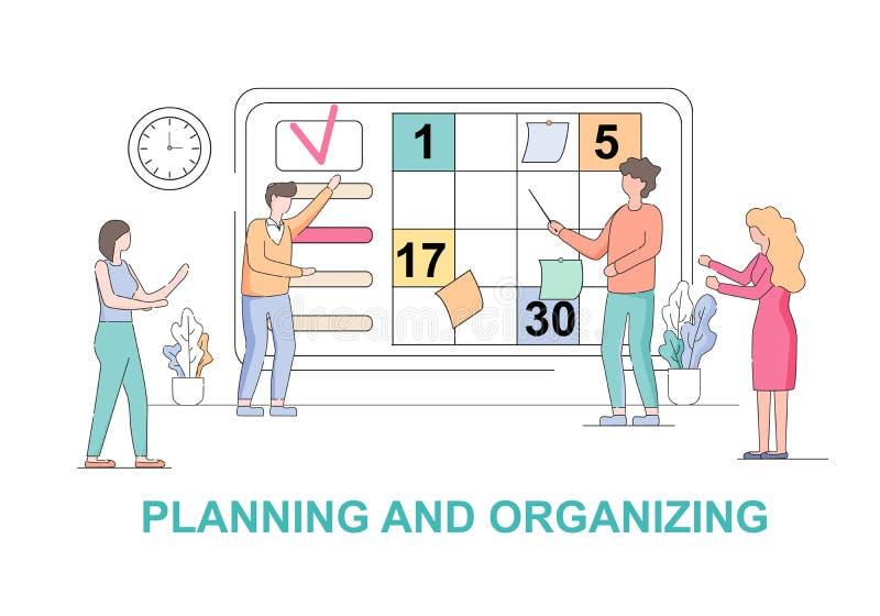 Planeamiento del trabajo en equipo y bandera horizontal de organización stock de ilustración
