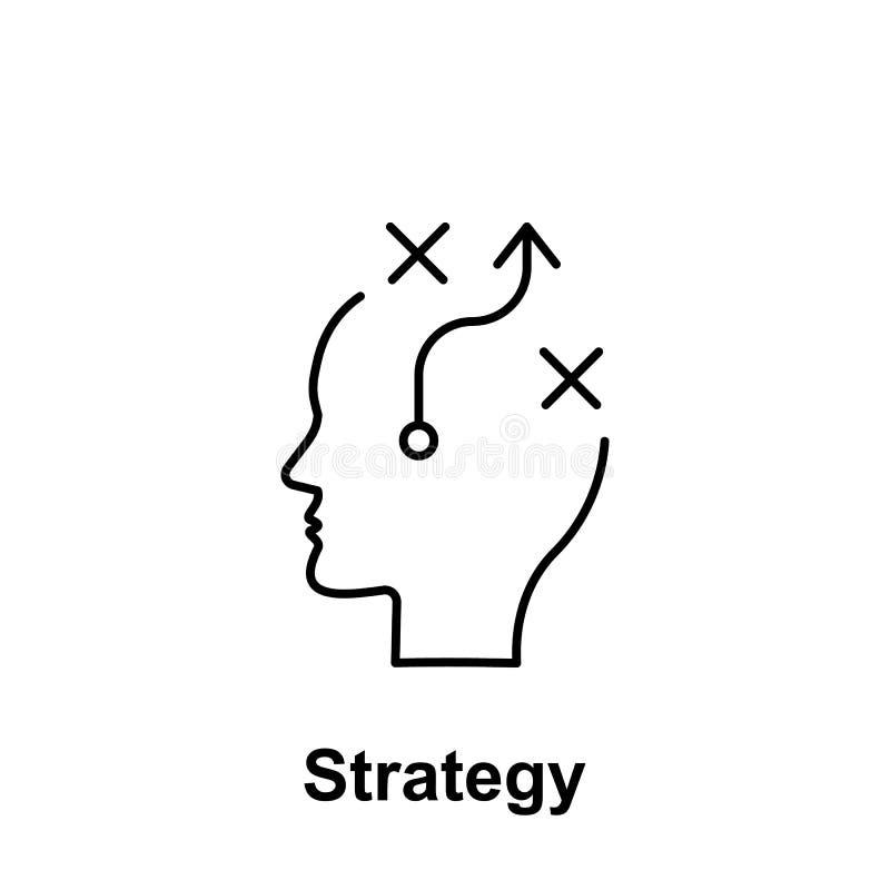 Planeamiento, estrategia, icono del cerebro Elemento del nombre creativo del witn del icono del thinkin Línea fina icono para el  stock de ilustración