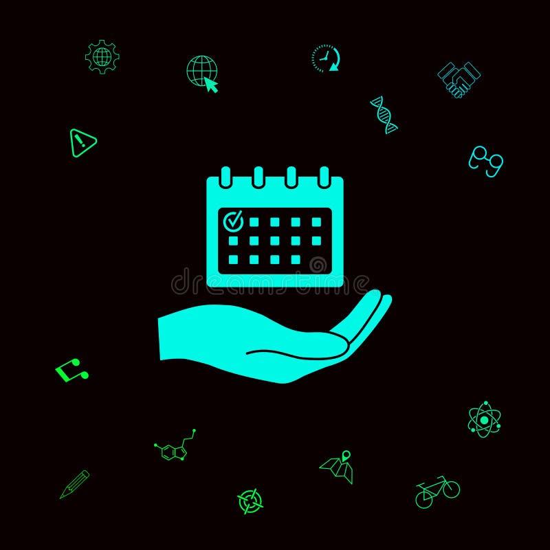 Planeamiento, gestión de tiempo, mano que lleva a cabo el icono del calendario Elementos gráficos para su designt libre illustration