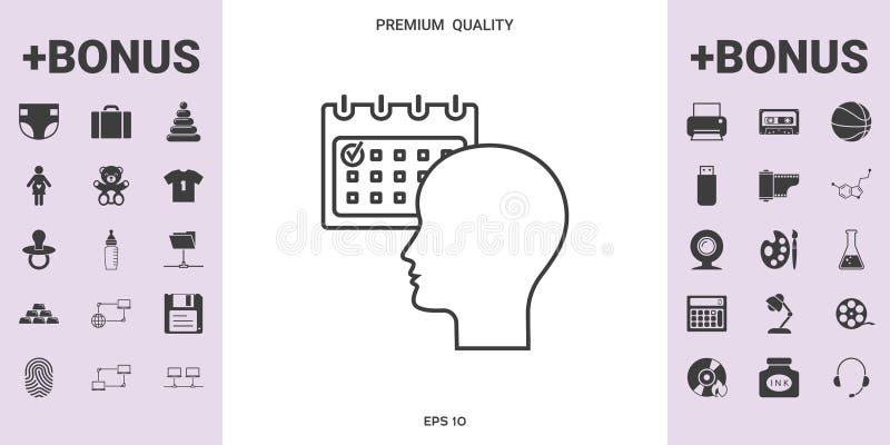 Planeamiento, gestión de tiempo, persona con el calendario - alinee el icono stock de ilustración