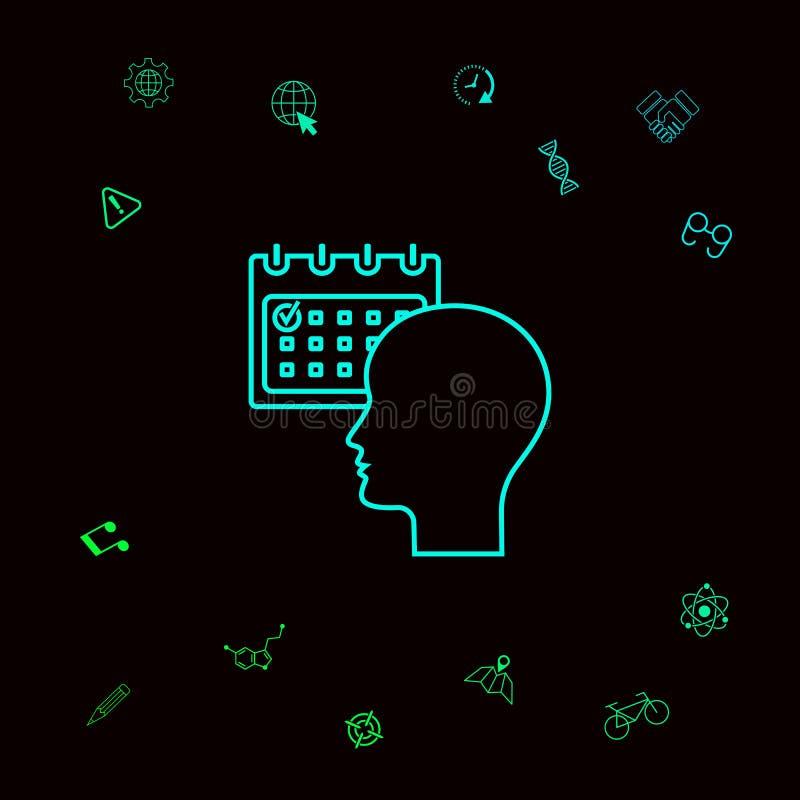 Planeamiento, gestión de tiempo, persona con el calendario - alinee el icono Elementos gráficos para su designt stock de ilustración