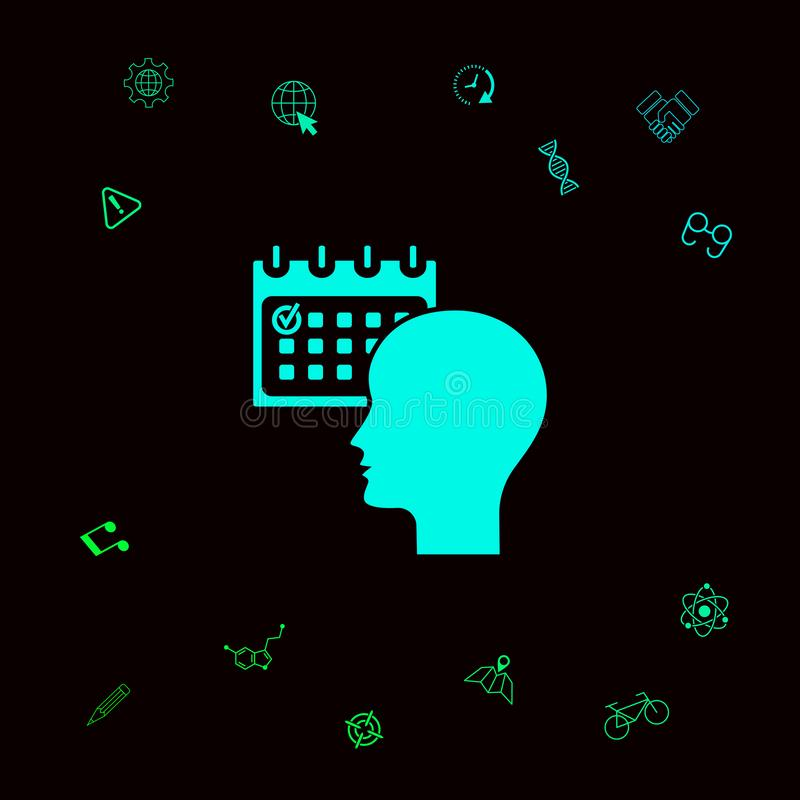 Planeamiento, gestión de tiempo, persona con el calendario - icono Elementos gráficos para su designt libre illustration