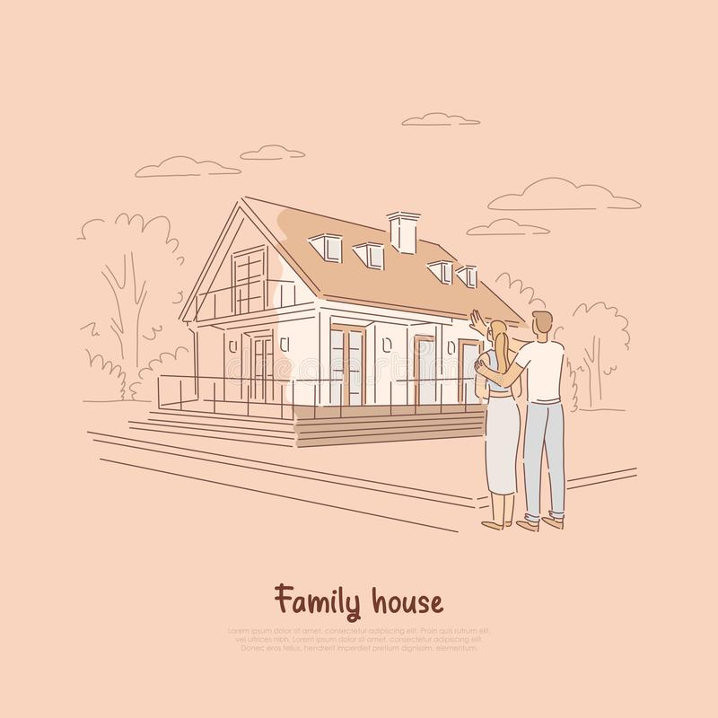 Planeamiento joven de los pares para el hogar ideal, familia que compra primero el espacio vital junto, colocándose delante del e ilustración del vector