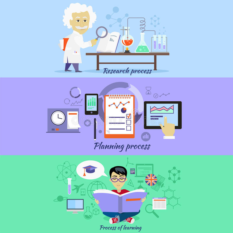 Planeamiento y aprendizaje de la investigación de proceso ilustración del vector