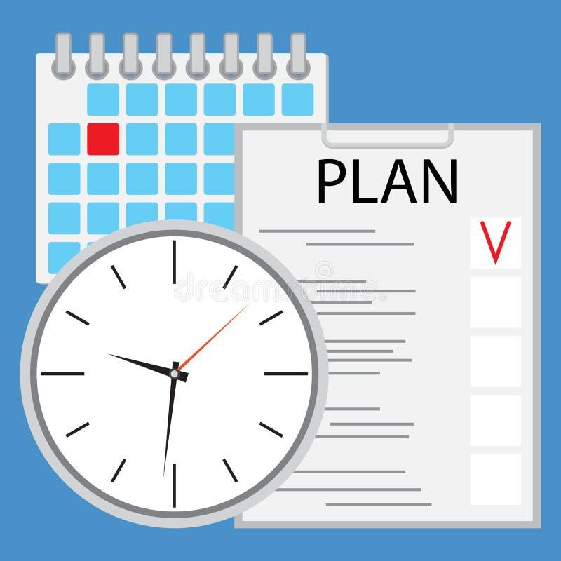 Planeamiento y organización de tiempo planos libre illustration