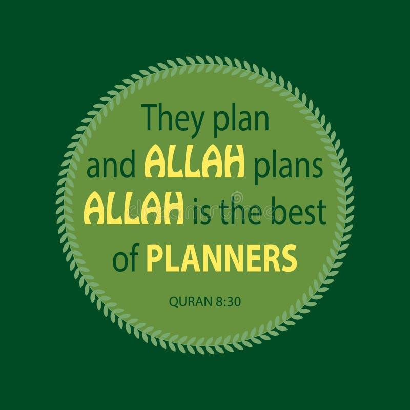 Planean y los planes de Alá Alá es el mejor de planificadores Quran de la cita stock de ilustración