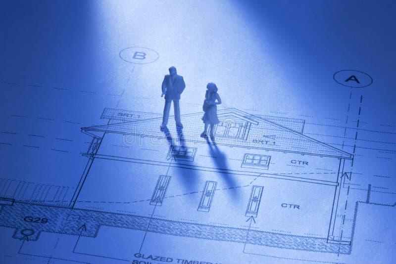 Planeando uma casa imagens de stock