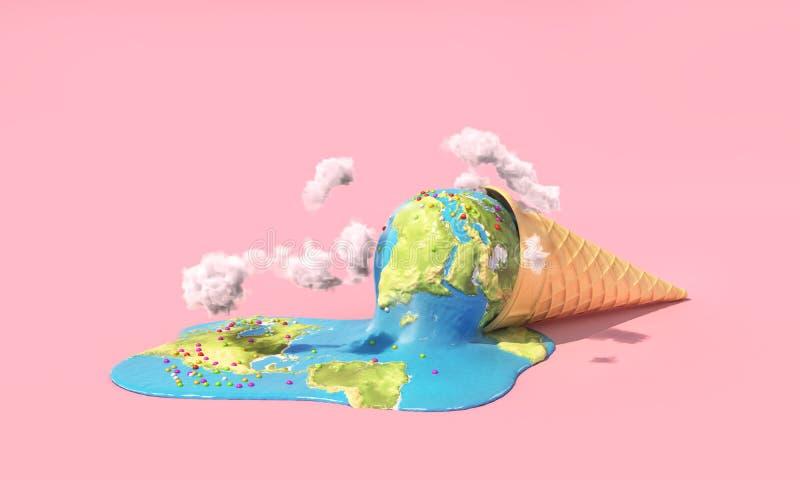 Planeet als smeltend roomijs onder hete zon op een roze achtergrond royalty-vrije illustratie