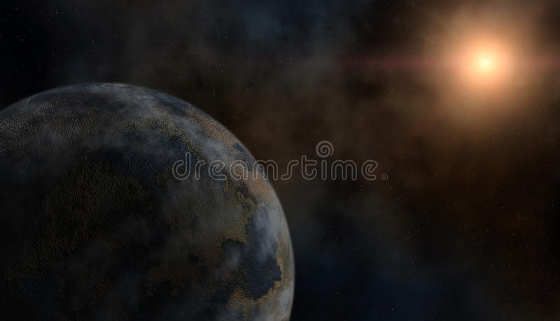 Planeet en een ster stock afbeelding