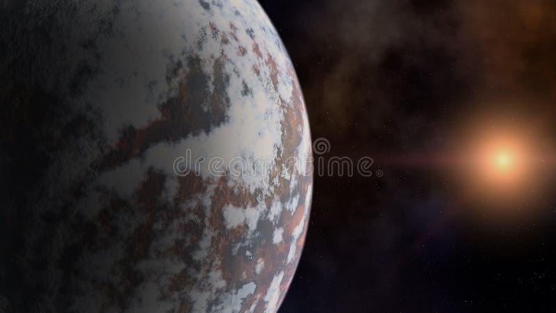 Planeet en een ster over de ruimtenevel stock fotografie
