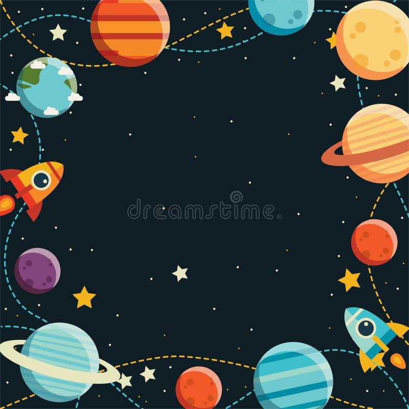 Planeet en raketmelkweg op vlakke ontwerpachtergrond stock illustratie