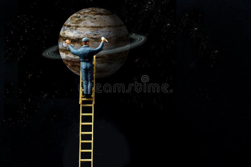 Planeet Jupiter Cleaning Ladder royalty-vrije illustratie