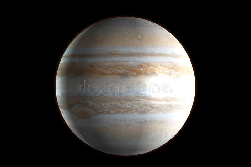 Planeet Jupiter in de kosmische ruimte het 3d teruggeven royalty-vrije illustratie