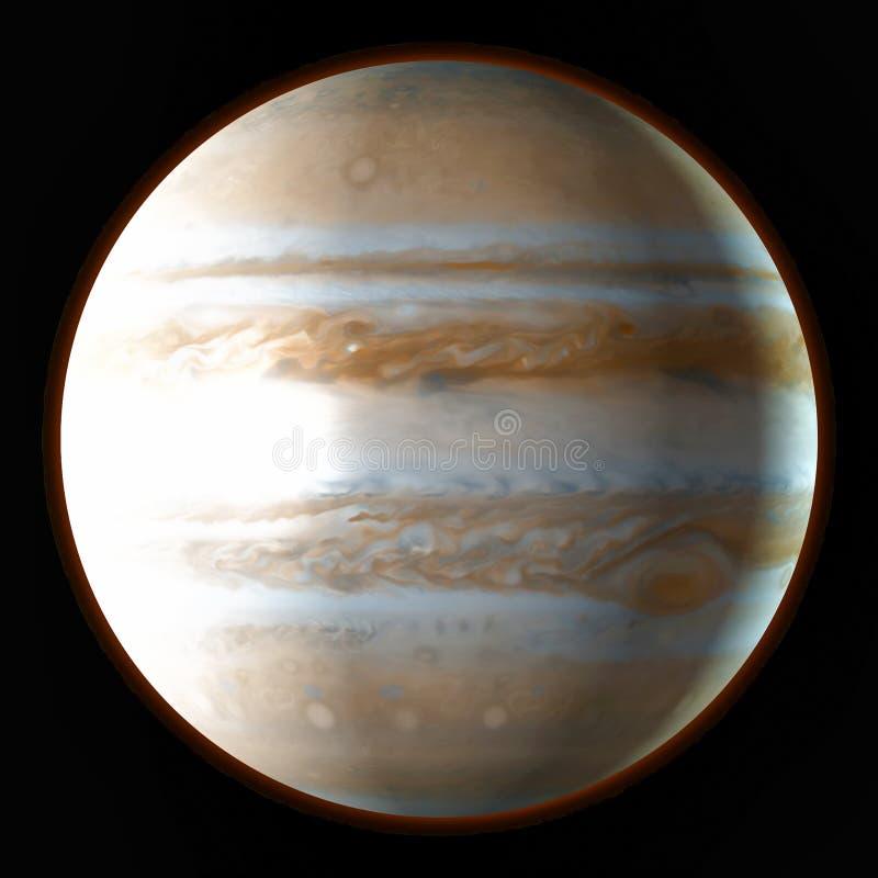 Planeet Jupiter in de kosmische ruimte Waterverf, 3D illustratie royalty-vrije illustratie
