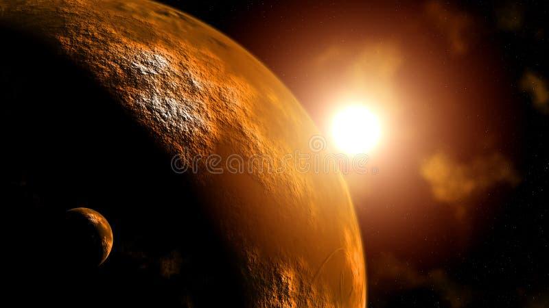 Planeet Mars bij zonsopgang stock illustratie
