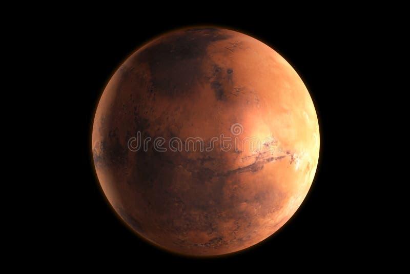Planeet Mars in de kosmische ruimte het 3d teruggeven stock illustratie