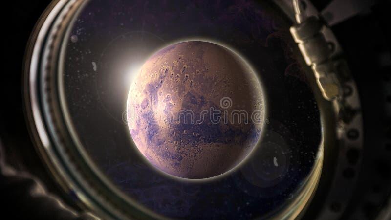 Planeet Mars in ruimte met zonlichtmening van het venster van het ruimtevaartuig royalty-vrije stock foto's