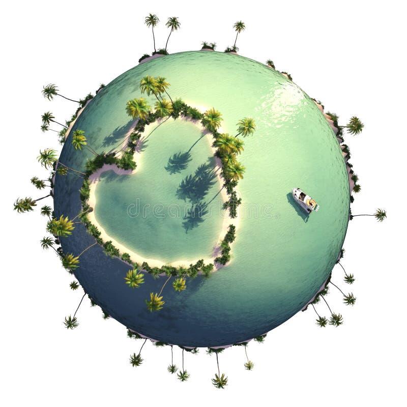 Planeet met hart gevormd eiland stock illustratie