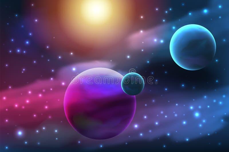 Planeet met maan stock illustratie