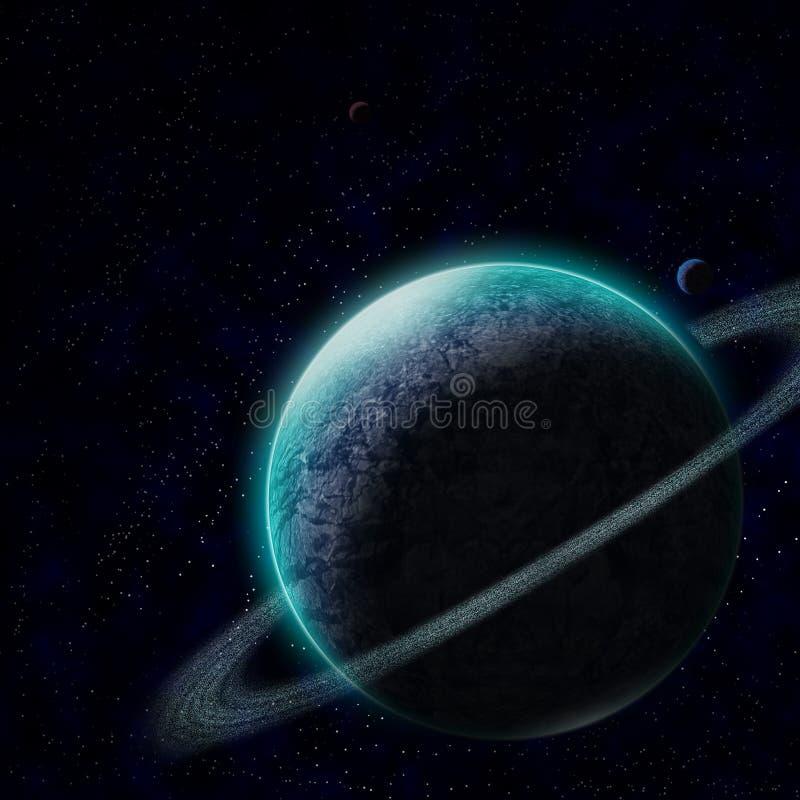 Planeet met sterrige hemel stock illustratie