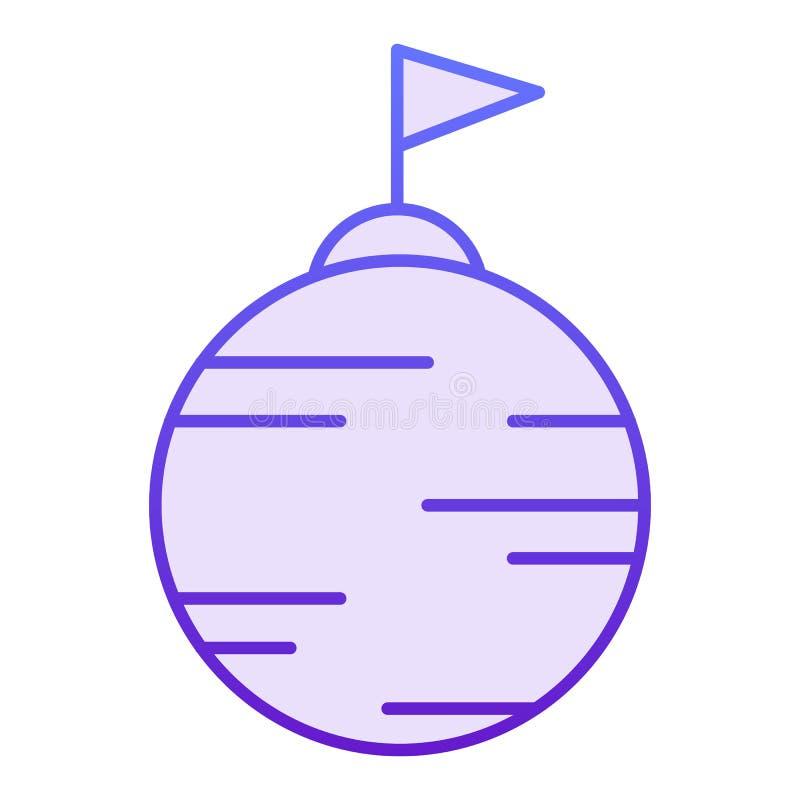 Planeet met vlag vlak pictogram Open planeet violette pictogrammen in in vlakke stijl De stijlontwerp van de astronomiegradiënt,  vector illustratie