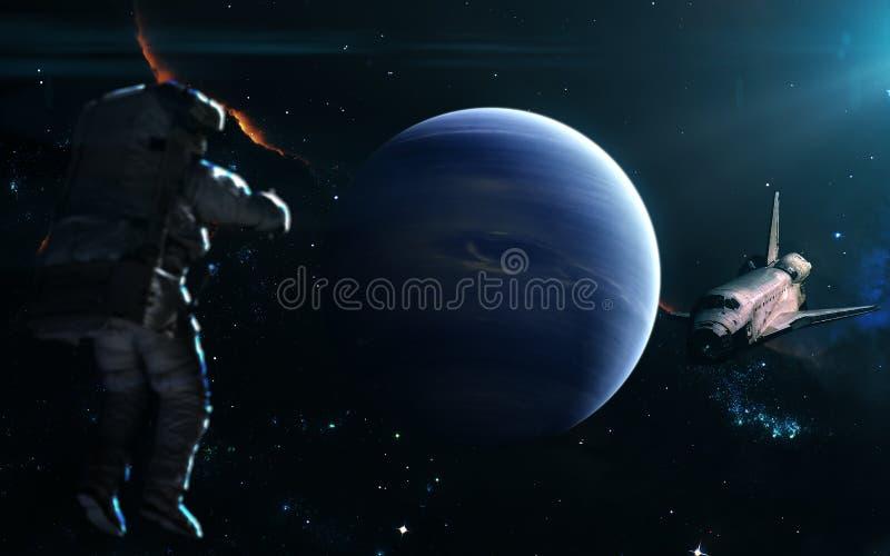 Planeet Neptunus in blauw licht nadruk op: Het Knippen van MercuryWith van het Venus van de aarde Weg Science fictionart. De elem royalty-vrije stock foto's