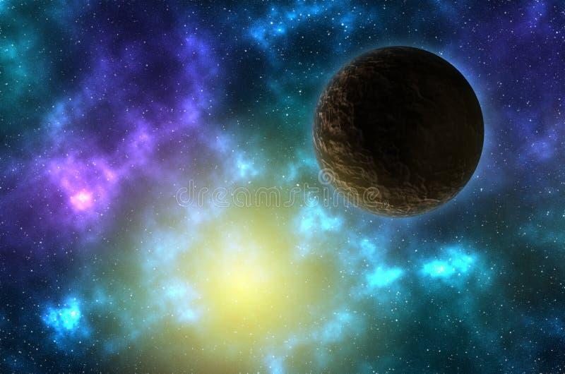 Planeet in ruimte met sterren royalty-vrije illustratie