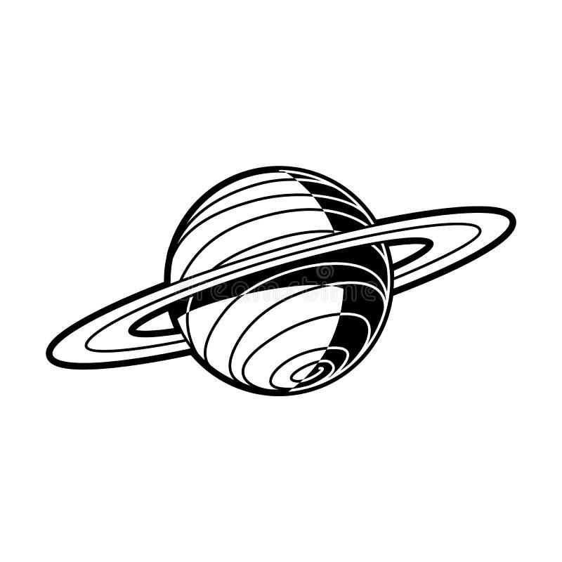 Planeet Saturn met ringen - hemellichaam van zonnestelsel op witte achtergrond wordt geïsoleerd die royalty-vrije illustratie