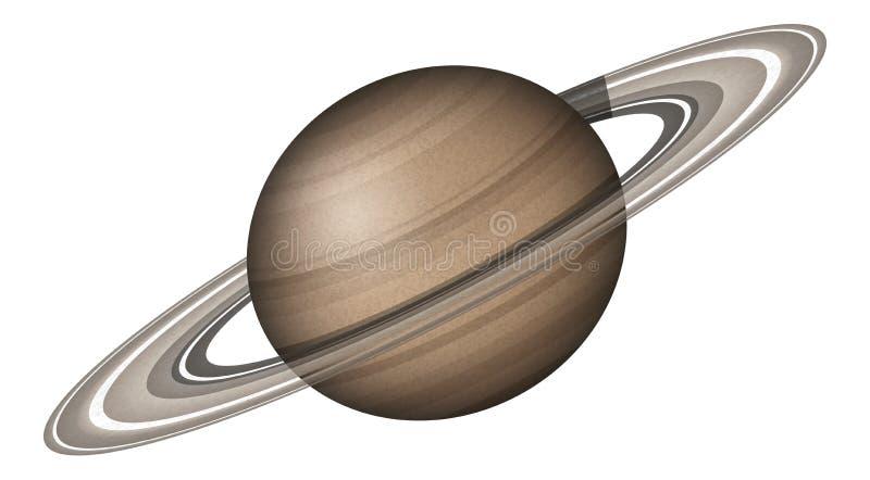 Planeet Saturn, op wit wordt geïsoleerd dat stock illustratie