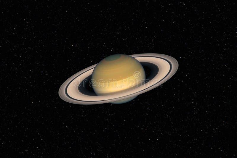 Planeet Saturn tegen donkere sterrige hemelachtergrond in Zonnestelsel royalty-vrije stock afbeelding