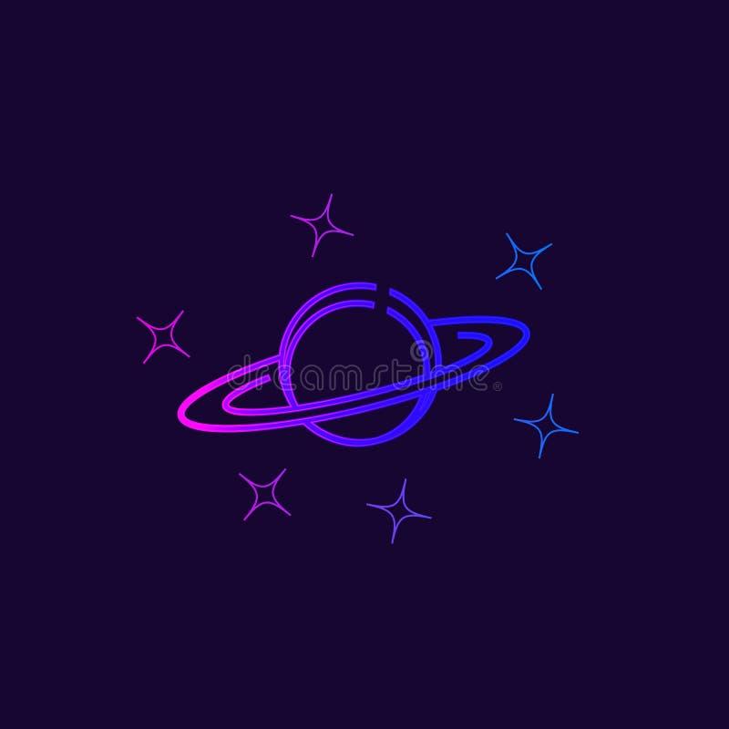 Planeet Saturnus en sterren vector illustratie