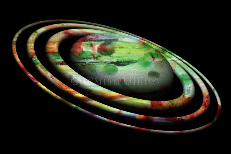 Planeet of ster op zwarte achtergrond in groene tinten vector illustratie