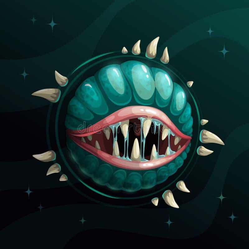 Planeet van het beeldverhaal de griezelige monster met speekselmond en kaken op de donkere ruimteachtergrond vector illustratie