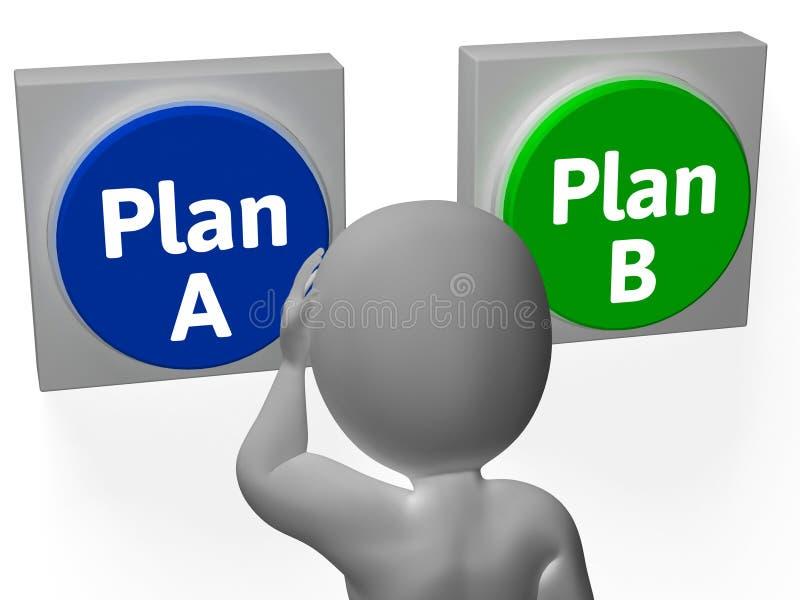Planeie uma alternativa ou um apoio da mostra dos botões de B ilustração stock
