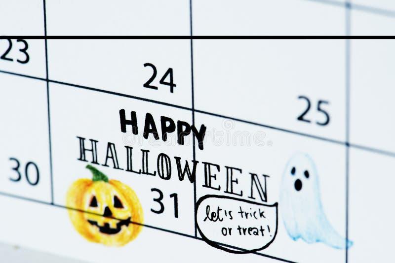 Planejador da programação do lembrete do calendário de Dia das Bruxas imagens de stock