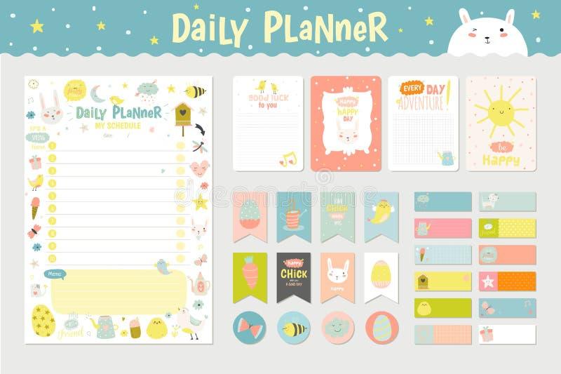 Planejador diário do calendário bonito ilustração stock