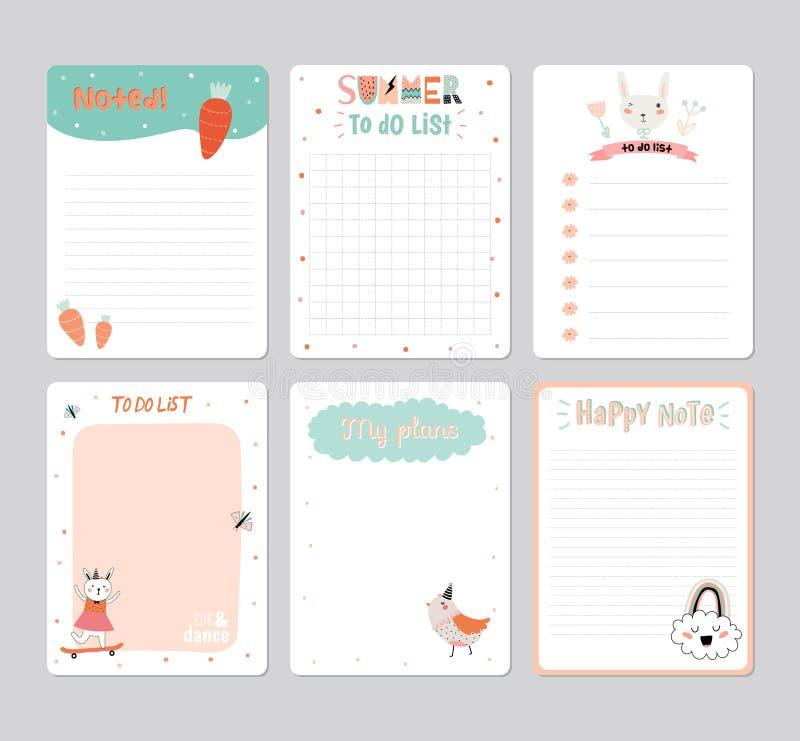 Planejador diário do calendário bonito ilustração royalty free