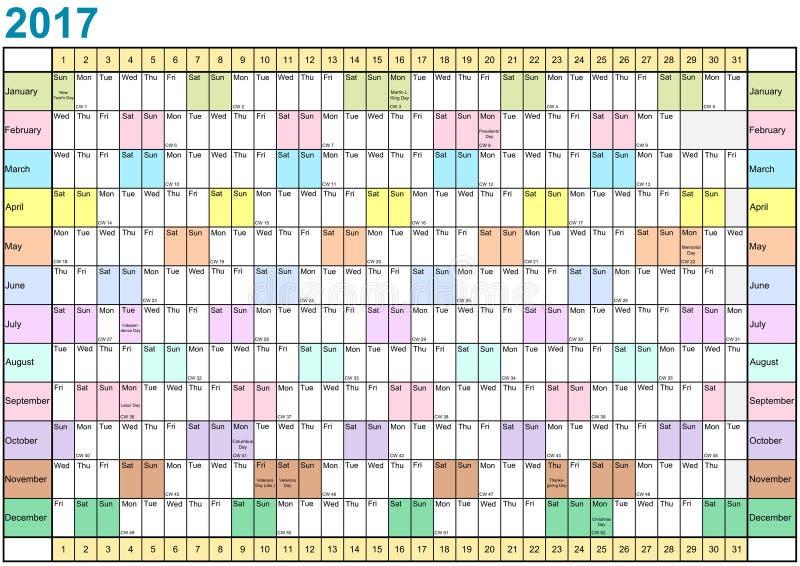 Planejador 2017 do ano linear cada mês em cores diferentes ilustração do vetor