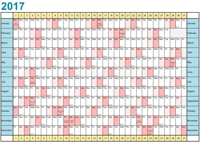 Planejador 2017 do ano linear com feriados para EUA ilustração stock