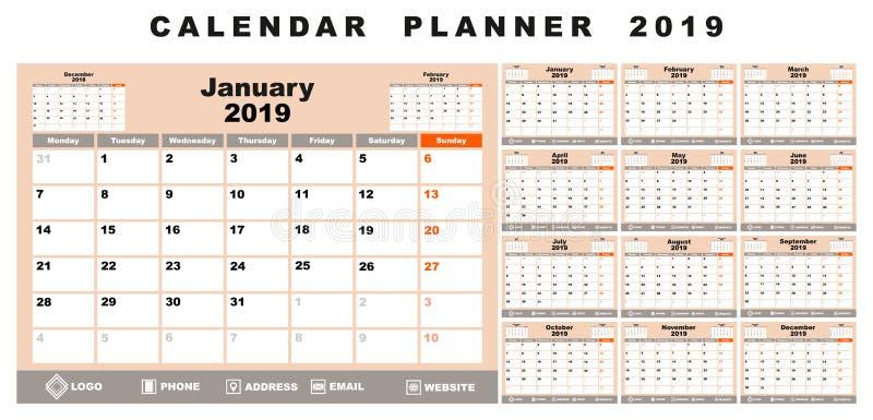 Planejador 2019 do calendário ilustração stock