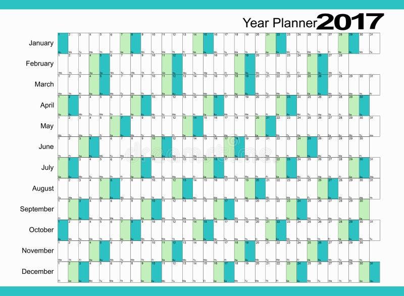 Planejador 2017 do calendário imagens de stock