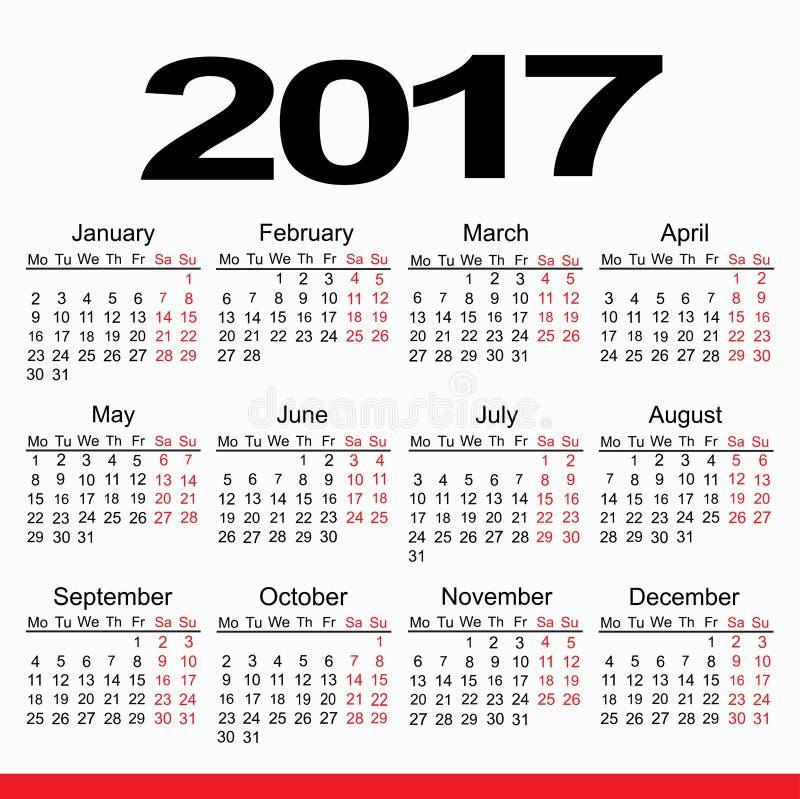 Planejador 2017 do calendário foto de stock royalty free