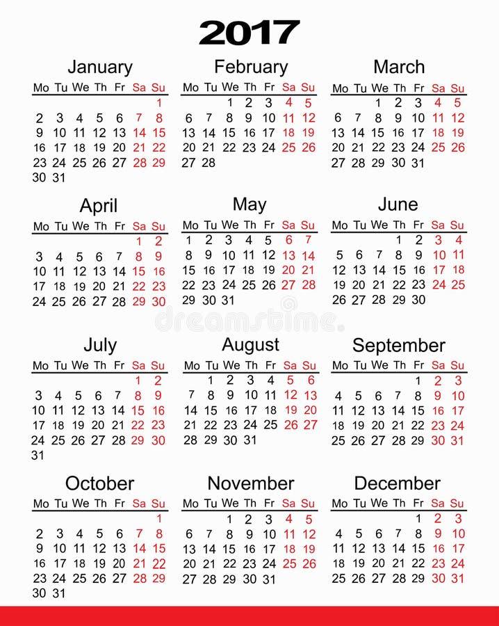 Planejador 2017 do calendário imagem de stock royalty free