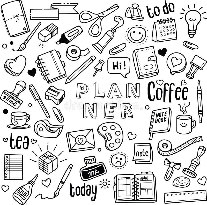 Planejador e jornal ilustração royalty free