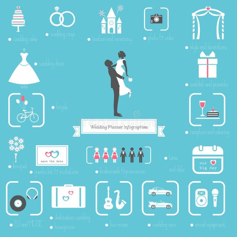 Planejador Icons do casamento e grupo de Infographics ilustração do vetor