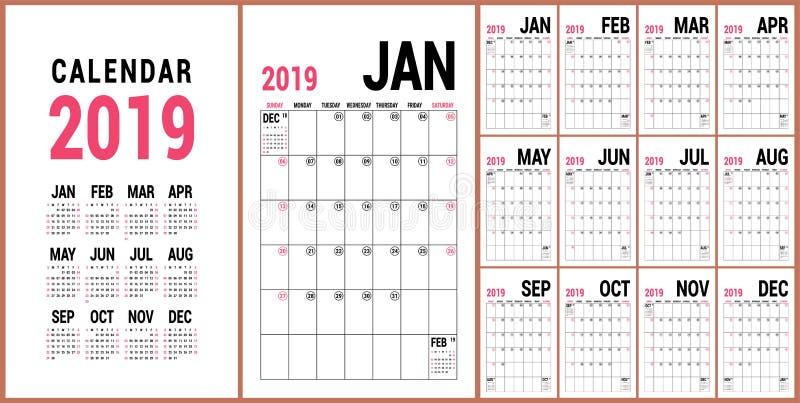Planejador 2019 Molde inglês do calendário Grade do calendário do vetor O ilustração stock