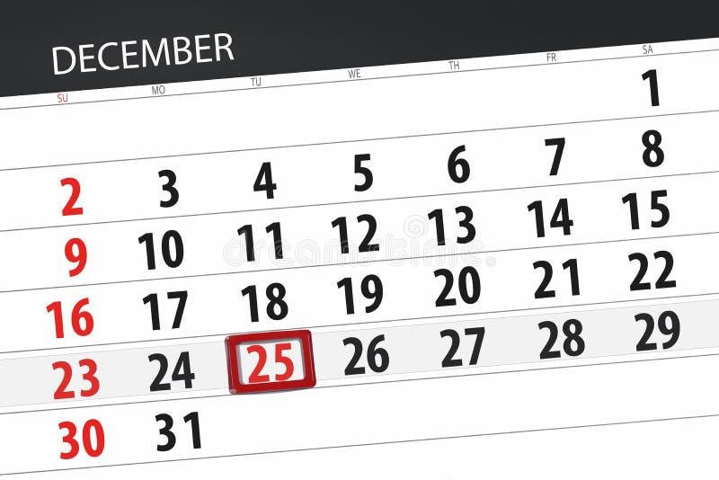 Planejador para mês dezembro de 2018, dia do calendário do fim do prazo, terça-feira, 25, Natal imagens de stock royalty free