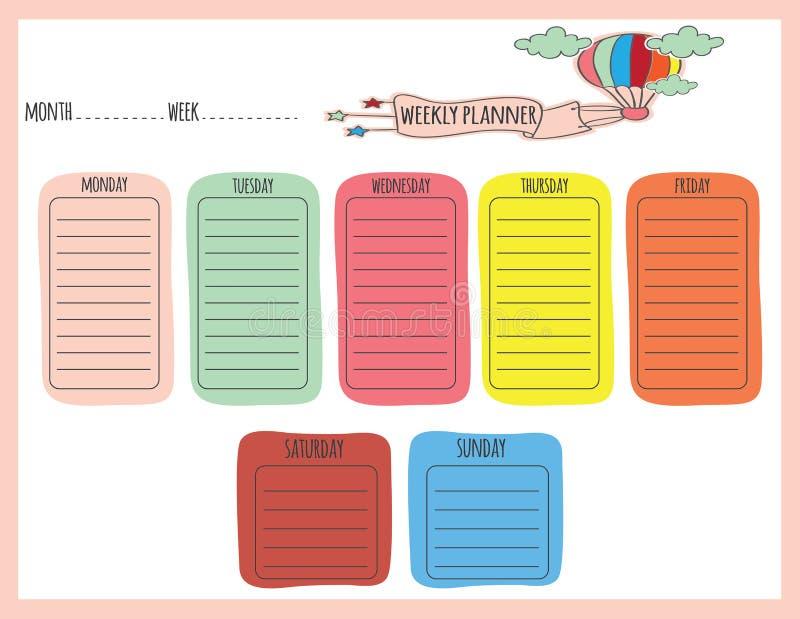 Planejador semanal bonito ilustração stock